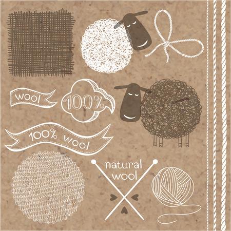 Wolle-Set. Wolle Etiketten, Aufkleber und Elemente auf Kraftpapier Hintergrund.