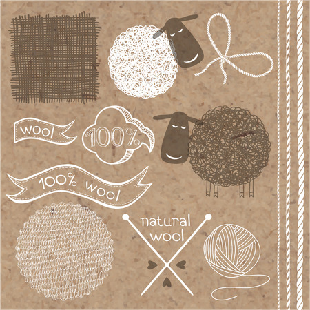 raw material: Wool set. Wool labels, stickers and elements isolated on kraft paper background.