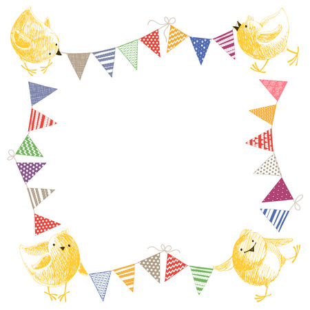 colorful frame: Frame with chickens and colorful garlands. Hand-drawn vector illustration, can be a frame for text. Kids background.