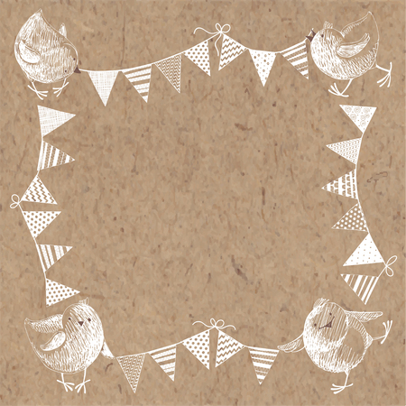 kraft paper: Frame with chickens and garlands on kraft paper. Hand-drawn vector illustration with space for your design.