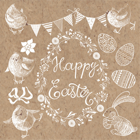kraft paper: Happy Easter. Isolated design elements for invitations, greeting cards. Festive vector set on kraft paper.