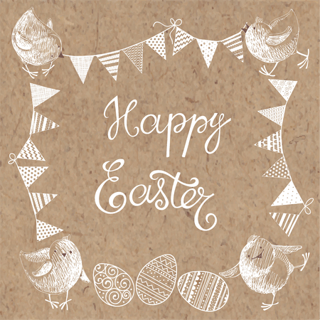kraft paper: Happy Easter. Greeting card or isolated elements for your design. Festive vector set on kraft paper.