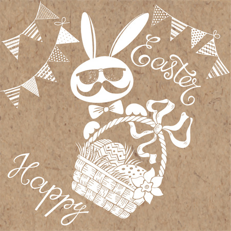 kraft paper: Happy Easter. Greeting card or invitation, isolated design elements. Festive vector set on kraft paper.