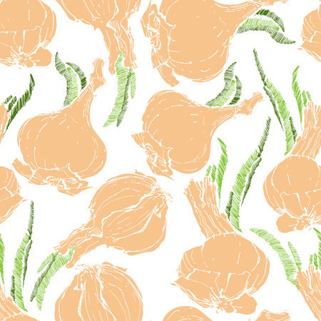 Onion bulb growing with young shoots, seamless pattern.