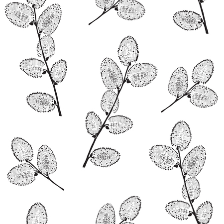 willow: Seamless pattern with branches of willow. Monochrome vector illustration on a white background.