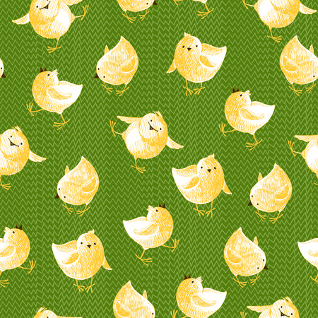 grassy: Little yellow chicken on grassy background. Vector seamless background. Cartoon illustration.