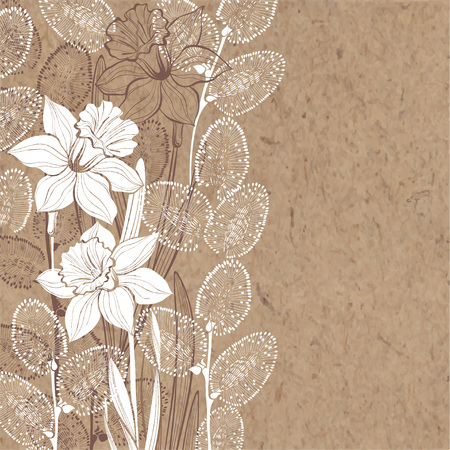 kraft paper: Hand-drawn vector background with spring flowers daffodils and branches of willow on kraft paper.