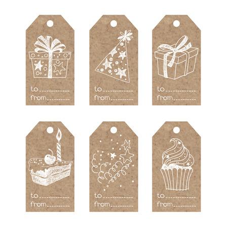 Colección de etiquetas de papel kraft festivos.