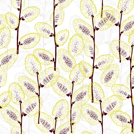 plant delicate: Willow branches. Seamless vector pattern. Illustration