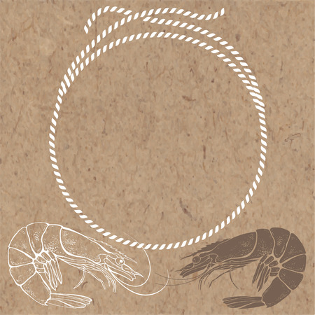 kraft paper: Nautical card with frame, marine knots, ropes and shrimps on kraft paper background. Vector background with space for text.