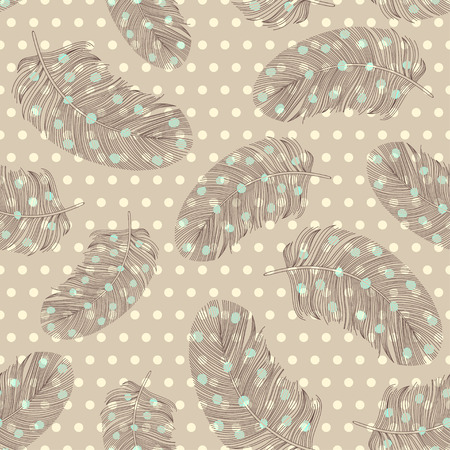 polka dots background: Seamless pattern with hand-drawn feathers on the polka dots background.