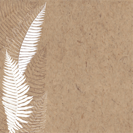 kraft paper: Hand-drawn vector background with fern on kraft paper. Illustration