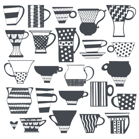 Coffee cup and tea cup vector set. Isolated elements for design on a white background, hand drawn illustration.