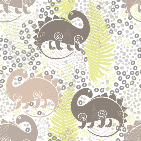 ferns: Seamless pattern with dinosaurs and ferns. Vector illustration. Illustration