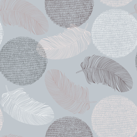 Seamless pattern with hand-drawn feathers and circles. Vector illustration. Vector Illustration