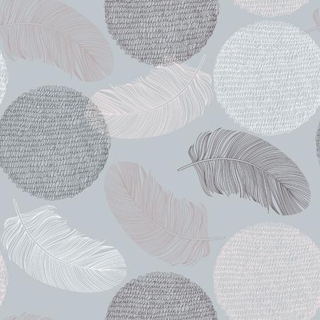 sin patrón, con plumas y círculos dibujados a mano. Ilustración del vector. Ilustración de vector
