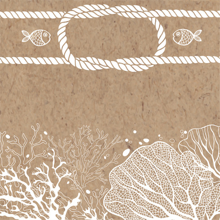 kraft paper: Vector background with marine plants, fish and marine ropes on kraft paper. Can be greeting card, invitation, design element.