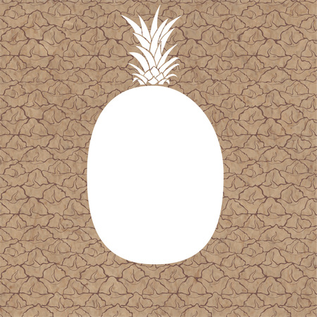 kraft paper: Vector background with the silhouette of pineapple and texture the fruit on kraft paper. Can be greeting card, invitation, design element. Illustration