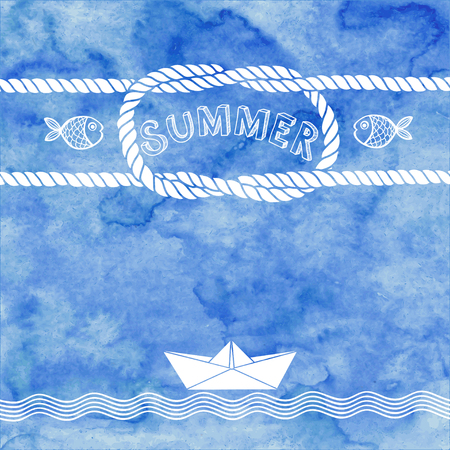 青い水彩背景に夏ベクトル イラスト。