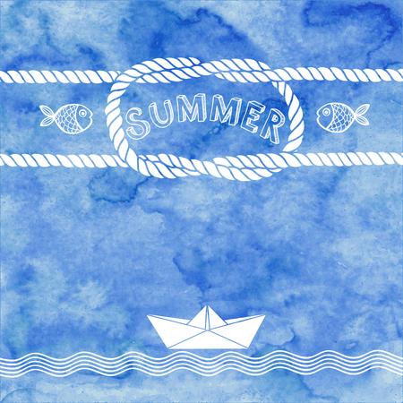 Verano ilustración vectorial sobre un fondo de acuarela azul. Foto de archivo - 57508984