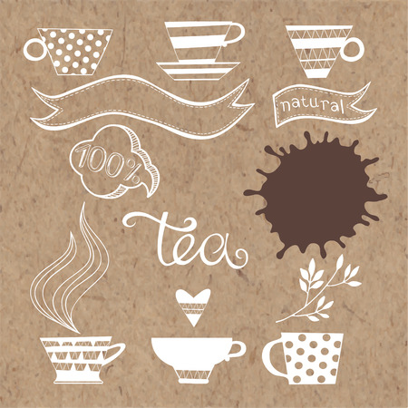 kraft paper: Tea plant set. Vector elements isolated on kraft paper background.