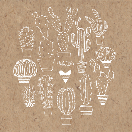 Vector cactus set. Elements isolated on kraft paper background. Vetores