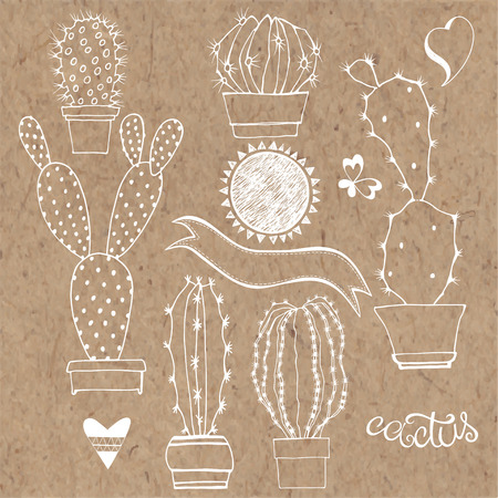 kraft paper: Vector cactus set. Elements isolated on kraft paper background. Illustration