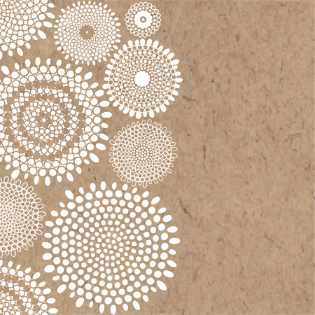 Abstract hand-drawn vector background with space for text on kraft paper. Can be invitation, greeting card or design element. Illustration