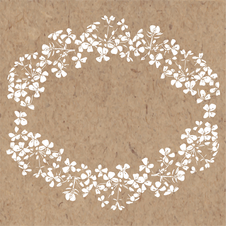 kraft paper: Floral background with abstract flowers on kraft paper. Hand-drawn oval flower frame. Can be greeting card, invitation, design element.