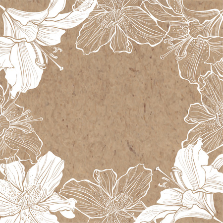 Floral background with lily on kraft paper. Hand-drawn oval flower frame. Can be greeting card, invitation, design element.