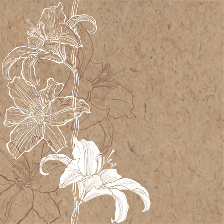 Floral background with lily on kraft paper. Can be greeting card, invitation, design element. Vectores