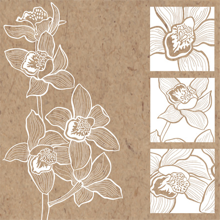 kraft paper: Floral background with orchids on kraft paper. Can be greeting card, invitation, design element. Illustration