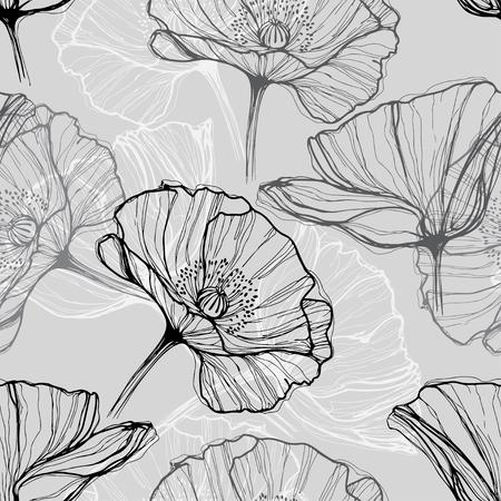 Zwart-wit naadloos patroon met papavers. Handgetekende bloemen achtergrond.