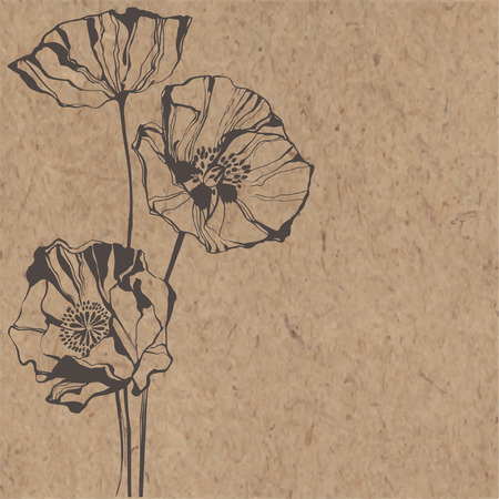 Fondo floral con amapolas en papel kraft. Puede ser tarjeta de felicitación, invitación, elemento de diseño.