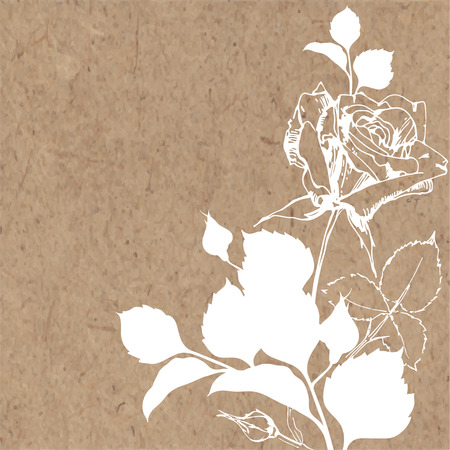 kraft paper: Floral background with rose on kraft paper. Can be greeting card, invitation, design element.
