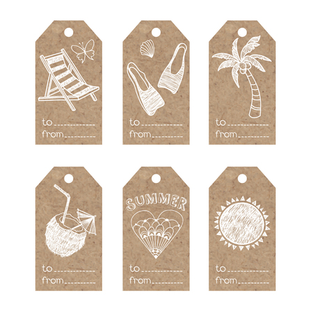 kraft paper: Collection of kraft paper tags with summer holiday motifs.