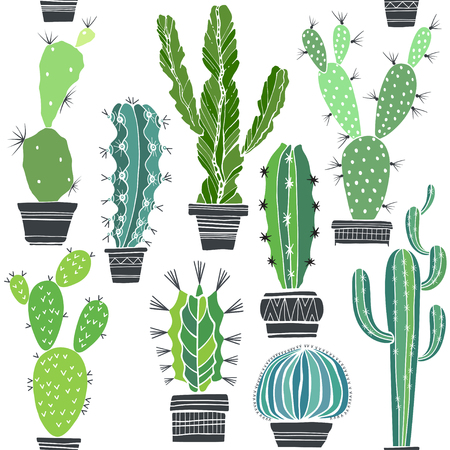 Seamless vector pattern with cactuses.