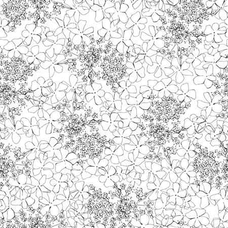 viburnum: Monochrome seamless pattern with viburnum flowers. Hand-drawn floral background. Illustration