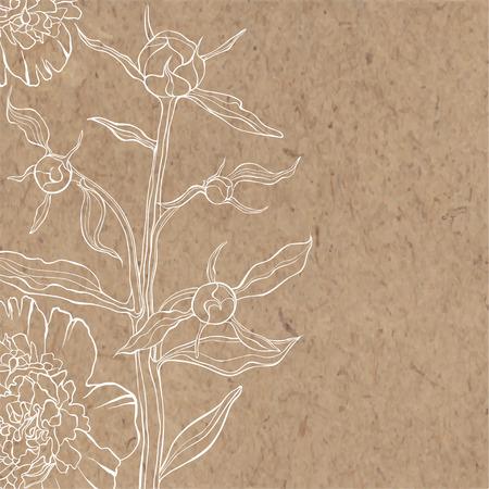Fondo floral con la peonía en papel kraft. Puede ser tarjeta de felicitación, invitación, elemento de diseño.
