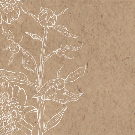 Floral background with peony on kraft paper. Can be greeting card, invitation, design element.