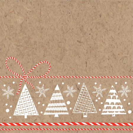 Festive background with Christmas trees and snowflakes on kraft paper. Vector illustration can be greeting cards, invitations, and design element. Illustration