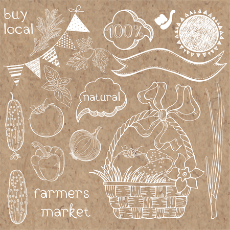 Farmers market. Vector illustration hand-drawn isolated elements for design on kraft paper. Illustration
