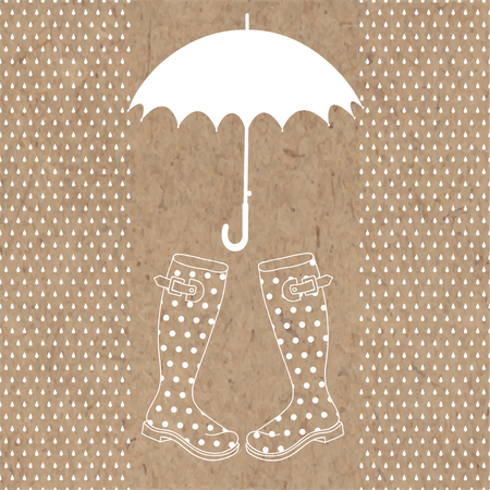 rubber boots: Umbrella, rubber boots and rain drops. Vector illustration with space for text on kraft background.