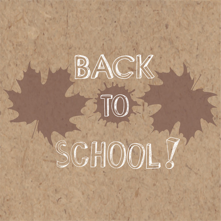 rough draft: Back to School, doodles background with maple leaves. Vector illustration on kraft background. Illustration