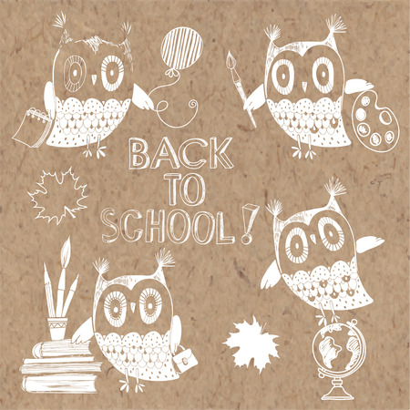 rough draft: Back to School, doodles illustration with owls on craft background. Isolated elements for design. Illustration