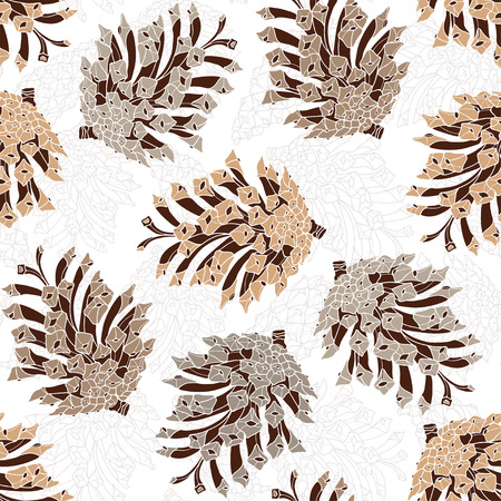 pine cones: Seamless pattern with pine cones. forest illustration on a white background. Illustration