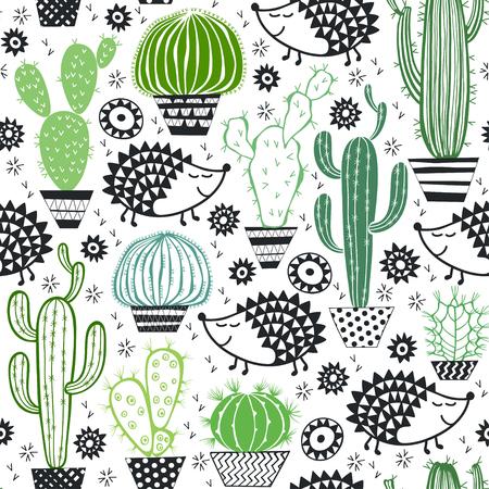Hedgehogs & cactus. Seamless pattern.