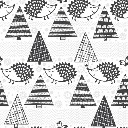 Hedgehogs & fir-trees. Seamless pattern. Cartoon black and white illustration. Kids background.