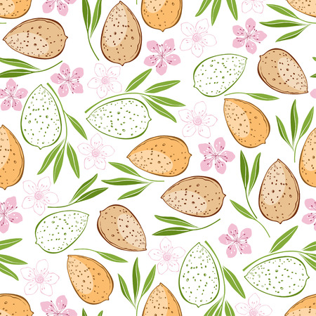 Almond Seamless pattern Illusztráció