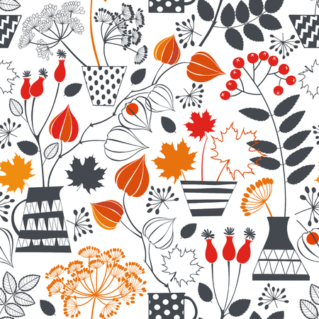 dill: Seamless pattern with autumn plant.
